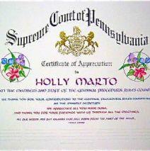 PA Supreme Court Certificate