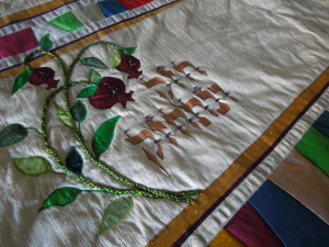 Susan Leviton's Torah Mantle with Pomegranates | Susan