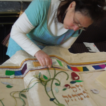 At work on a Torah Mantle