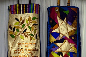 Susan Leviton designed and made new Torah covers - 2007